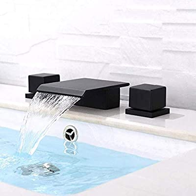 BULUXE Matte Black Waterfall Widespread Bathroom Sink Faucet Square Double Handle Solid Brass