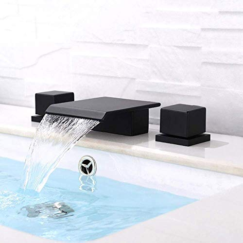 BULUXE Waterfall Bathroom Faucet in Matte Black 3 Hole Double Square Handles Widespread Black Bathroom Sink Faucet Solid Brass