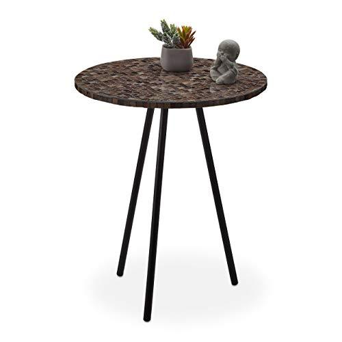 Relaxdays Beistelltisch Mosaik, runder Ziertisch, handgefertigtes Unikat, 3 Beine, Mosaiktisch, HxD: 50 x 41 cm, braun