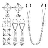 sailimue 7 Pcs Fake Nipple Rings for Women Non-Piercing Nipplerings Clip On Nipple Rings Stainless Steel Faux Dangle Nipple Body Piercing Jewelry