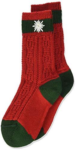 Lusana Jungen Kinder-Socke zweifarbig, Bestickt Kniestrümpfe, Rot (Rot/Tanne 2119), 38 (Herstellergröße: 38-40)