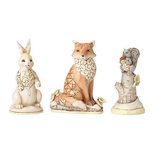 Enesco Jim Shore Heartwood Creek White Woodland Animal Figurine Set, 2.875