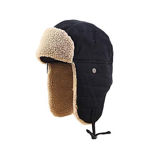 G&F Gorros Aviador Gorros De Aviador Piel Sintética Sombrero Trampero Mantener Caliente Invierno Gorra Piloto para Esquí (Color : Black, Size : 56-58)