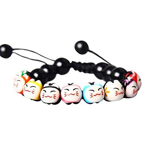 CXLD Bracelet Chat Porte-Bonheur Perles Céramique Pierre de Pin Réglable