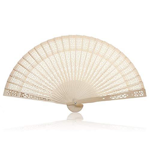 Bleyoum Abanico Plegable Ventilador De Mano Tallado De Madera De Bambú Plegable Vintage De Verano Boda Fiesta Nupcial