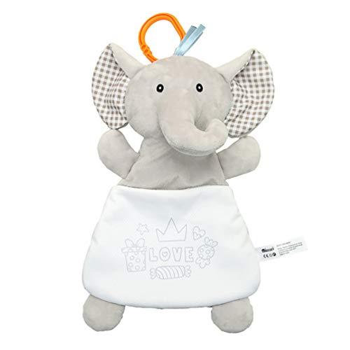 Toyvian Baby Sicherheitsdecke Elefant Weiches Stofftier Plüsch Beruhigendes Spielzeug Schlaftuch Beruhigend Rasseln Spielzeug für Baby zu Hause Zimmer Grau
