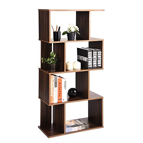 Coavas Rustic Bookcase Geometric Bookshelf Home Office Storage Shelves Vintage Display Shelf 4 Tiers...