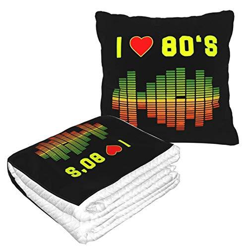 I Love 80s Music Rock Equalizer Love Eighties 2 en 1 Manta suave y cálida de viaje para avión de peluche para dormir