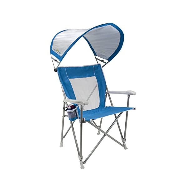 GCI Outdoor Waterside SunShade Folding Captain's Beach Chair with Adjustable...
