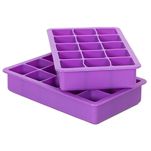 Elbee Home EBH-613 Elbee 613 Coolest 15 Silicone Ice Tray-2-Piece Mold Set-Make 30 Cubes, 7.2 x 2.9 x 4.3 inches, Purple