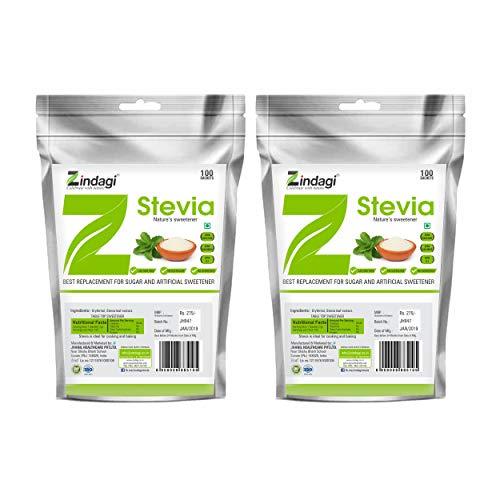 Zindagi Stevia Sugar Sachets - 100% Natural Fat Free Sweetener - Zero Calorie Sweetener - Sugarfree (200 Sachets)