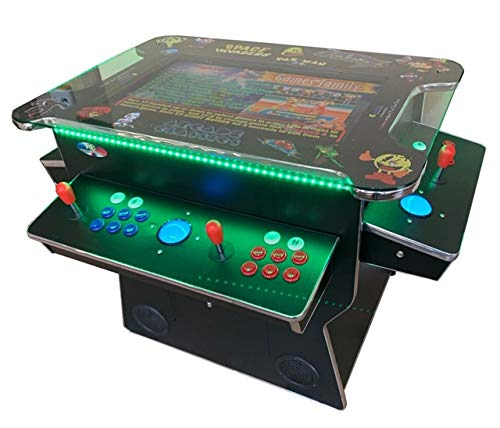 ABINCVIDEO Black Huge 26.5 Inch Screen Full Size Commercial Grade Cocktail Arcade Machine 3500 Classic Games 2 Stools 3 Year Warranty Lifting Screen LED Trim Stools Included 00129SH