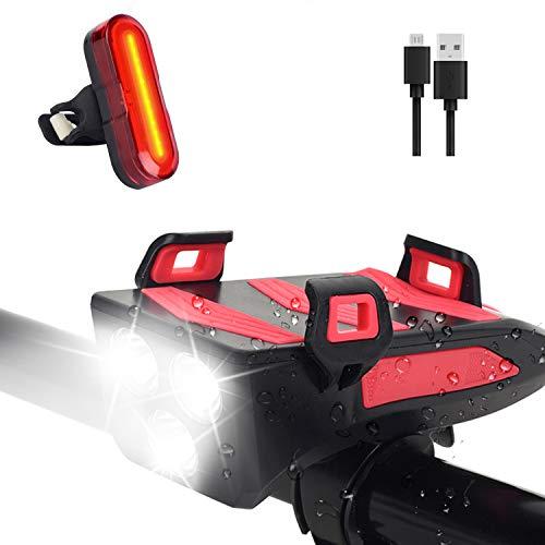 SYTUAM LED Fahrradlicht Mit Handyhalter 3 Lichtmodi, 4000mAh USB Wiederaufladbare Fahrradbeleuchtung mit Lautsprecher 5 Modi, Vorne Rücklicht 5 Modi Wasserdicht Fahrradlampe(Rücklicht Upgrade)