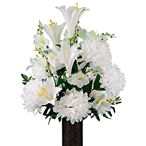Sympathy Silks Artificial Cemetery Flowers – Realistic – Outdoor Grave Decorations – Non-Bleed Colors, and Easy Fit – White Dahlia Mix Bouquet