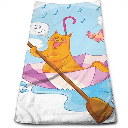 Jesse Tobias Handtücher Waschlappen Badetücher Badetuch Dusche, süße Katze unter dem Regenschirm Segel in den Wolken und Humor Cartoon Kinder Kinderzimmer Thema