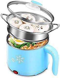 Dormitorio estudiantil Olla Vapor seguro de acero inoxidable Material eléctrico Cocina Pot Hot Pot sartén de energía Funciones Multi Hervir (Color : Blue with steamer)