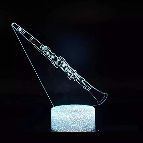 Lindo clarinete instrumento musical base agrietada lámpara de mesa pequeña creativa acrílico luz de noche pequeña multicolor luz de visión 3D luz LED decoración creativa lámpara de mesa pequeña