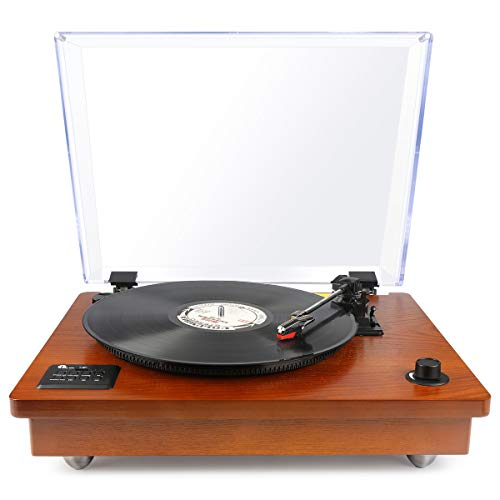1byone Belt Driven Bluetooth Turntable with Built-in Stereo Speaker, Vintage Style Record Player, Vinyl-To-MP3 Recording, Natural Wood
