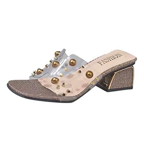 TIFIY Pantolette Damen,Sommer Badeschuhe Transparente Strass Peep-Toe Dicke Bürosandalen Bohemian Flip Flops Schuhe(Gold,EU 35)