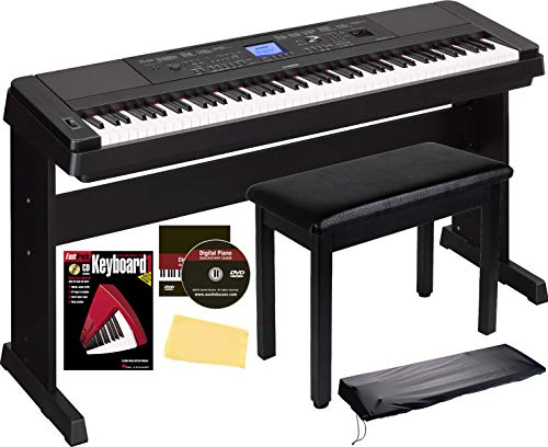 Yamaha DGX-660 Digital Piano - Black Bundle with Furniture Bench, Sustain Pedal, Dust Cover, Instructional Book, Online Lessons, Austin Bazaar Instructional DVD, and Polishing Cloth