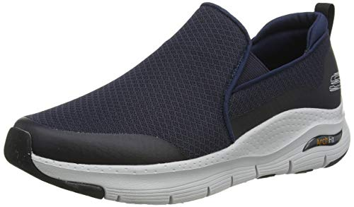 Skechers Arch Fit, Zapatillas sin Cordones Hombre, Azul (Navy Mesh/Synthetic/Trim Nvy), 41 EU