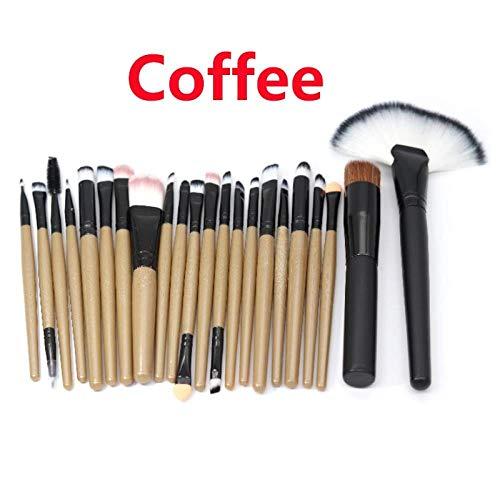 MEISINI Maquillage Pinceaux Poudre Fond De Teint Ombre À Paupières Eyeliner Pinceau À Lèvres Outils De Beauté, Café