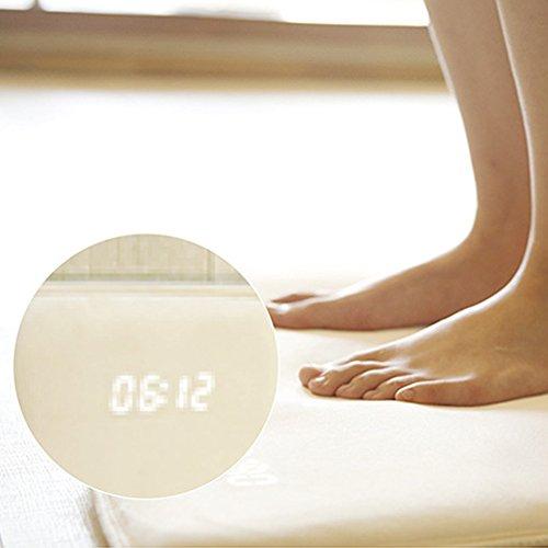Wecker – Smart Rug – Digitalanzeige, hohe Dichte, druckempfindlich für schwere Schläfer, moderne Studenten, Teppich/Teppich-Wecker stoppt nur, wenn Sie darauf stehen (40 x 38 cm, weiß, weiß)