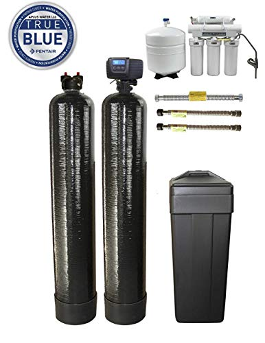 ABCwaters Triple Combo Whole House Fleck 5600sxt 48,000 Grain Water Softener System + Upflow Carbon Tank + (HE) 5 Stage Reverse Osmosis Drinking Water Unit 75 gpd