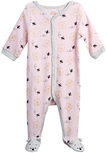 Disney Baby Girls' Sleep N' Play Footie: Minnie Mouse, Daisy Duck, Pooh Bear, Princess (Newborn), Size 3-6 Months, Pink/Cream Pooh Bear