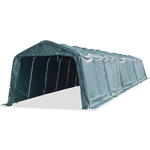 vidaXL Carpa para Ganado Desmontable Cobertizo Cenador Toldo Protección Refugio para Animales Caseta Exterior Aire Libre PVC Verde Oscuro 3,3x16 m