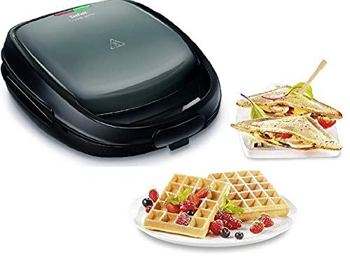 Tefal Snack Time 2in1 Kombi-Gerät, Waffeleisen (belgisch) und Sandwichtoaster (dreieckig), 2 herausnehmbare, antihaftbeschichtete Plattensets (spülmaschinengeeignet), multifunktional, 700 Watt