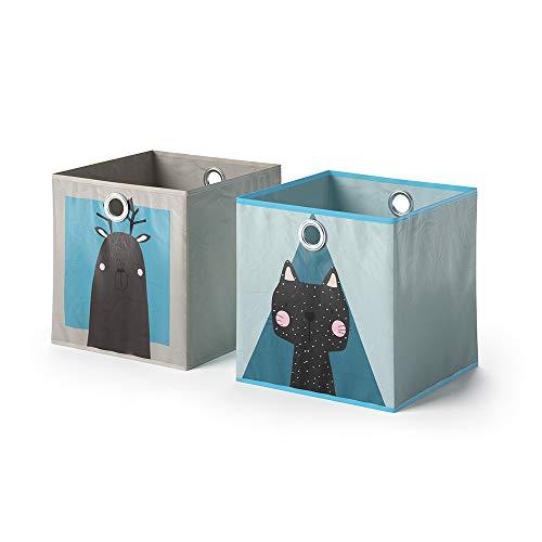 Vicco 2er Set Faltbox 30x30 cm Kinder Faltkiste Aufbewahrungsbox Regalkorb (Elch + Hund/Katze + Katze)