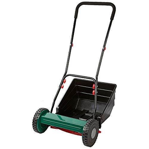 Bergman Silent Cylinder Cordless Push Lawn Mower - Rear Roller for Striped Lawn, Hand Operated Eco Friendly Push-Along Mower