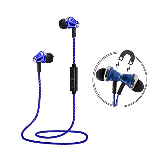 Lauson Auriculares Deportivos Bluetooth Inalámbricos Universales, Cascos Magnéticos, Manos Libres Estéreo con Micrófono, Cancelación de Ruido y Cable de Carga USB (Azul)