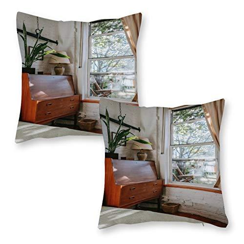 DKE&YMQ Juego de 2 fundas de cojín decorativas para el hogar, de lino, para suelo de madera, para muebles, muebles, muebles, etc.