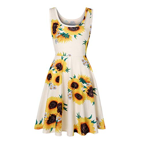 FRAUIT zomerjurk dames vintage boho jurk zonnebloemen print strandjurk drager met flatterende rok bloemenpatroon mouwloos partyjurk feestelijke jurk grote maten