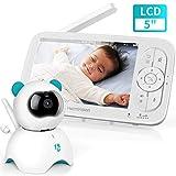 Baby Monitor con LCD HD Schermo da 5 Pollici, Telecamera da Interno con Sensore di Temperatura e...