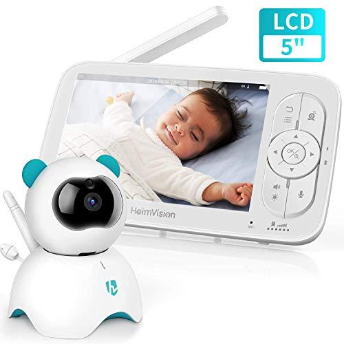 Baby Monitor con LCD HD Schermo da 5 Pollici, Telecamera da Interno...
