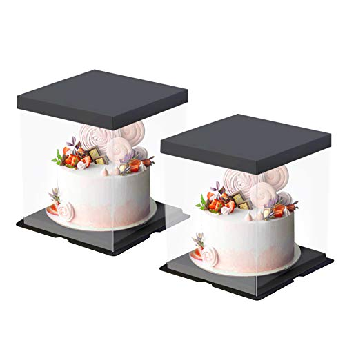 Transparent Cake Box, 2 Pcs Clear Plastic Cake Boxes Bakery Packaging Carriers with Pre-folded Lid Baking Cookie Display Pack Carry Tall Layer Gift Toy Box 9.4' x 10.3' x 10.3' - Black