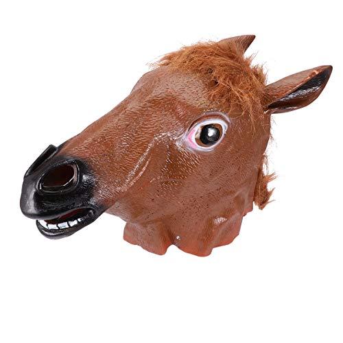 Wakauto Mscara de Cabeza de Caballo de Halloween Spooky Novelty Animal Bojack Horseman Headgear Costume Theater Prop for Masquerade Carnaval Party Supplies Brown S
