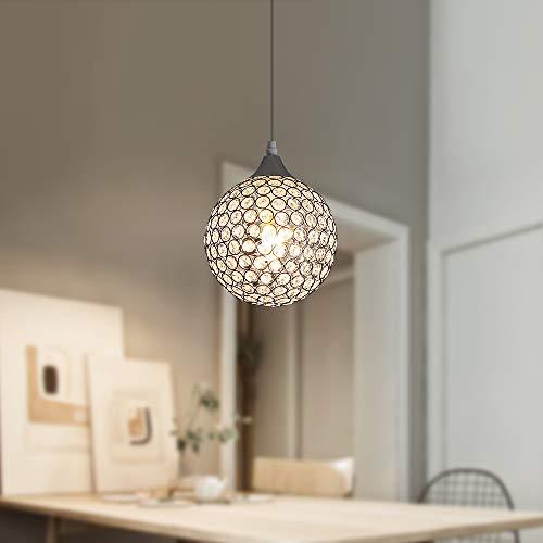 Goeco Lámpara colgante, Lámparas de araña de bola cristal, Lámpara de techo E27, para Dormitorio Salón Pasillo...
