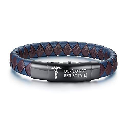 DNR(DO NOT RESUSCITATE) Pre-Engraved Emergency Medical Alert ID Bracelets Identification Cuff Handmade Braided Bangle Adjustable Button Microfiber Leather Wristbands for Men Boy