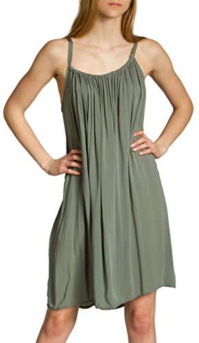 Caspar SKL010 Damen leichtes Baumwoll Sommerkleid, Farbe:Oliv grün, Größe:One Size