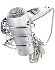 WENKO Turbo-Loc® hair dryer holder - cable holder, fixing without drilling, Steel, 14 x 7.5 x 11.5 cm, Chrome