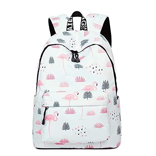 YANAIER - Mochila escolar impermeable para niñas y adolescentes con bonita impresión, bolsa para portátil o libros, mochila de viaje informal, Flamingos, Talla única,