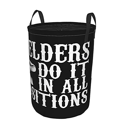 Cesto de lavandería redondo, hombres que lo hacen en cada posición de soldador, cesto de lavandería plegable impermeable con cordón,19'X14'