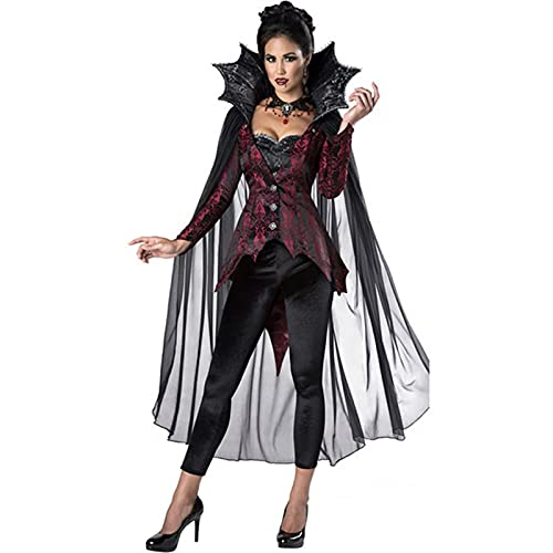 GDYJP Womens Vampiress Ladies Halloween Fancy Dress Adults Vampire Costume Outfit (Color : Black, Size : Small)
