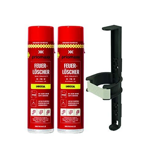 Priomaxx 2 Feuerlöscher-Sprays, 760 ml, Glow in The Dark, inklusive (Fahrzeug) Halterung