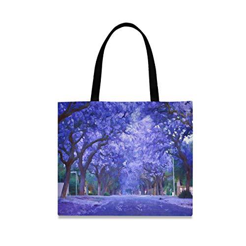 DOSHINE Tragetasche aus Segeltuch, lilafarbener Frühling, Jacaranda-Baum, wiederverwendbar, Einkaufstasche, Schulranzen, Handtasche für Damen und Mädchen