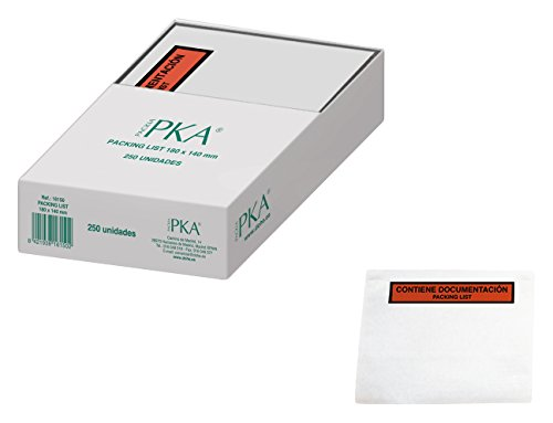 PKA Packing List - Sobres, 180 x 140 mm, 250 unidades